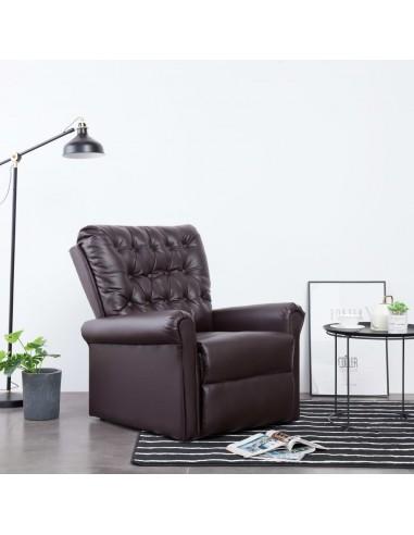 Atlošiamas krėslas, rudos spalvos, dirbtinė oda   Foteliai, reglaineriai ir išlankstomi krėslai   duodu.lt