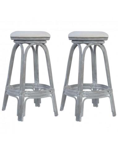 Baro taburetės, 2vnt., pilkos spalvos, ratanas    Stalai ir Baro Kėdės   duodu.lt