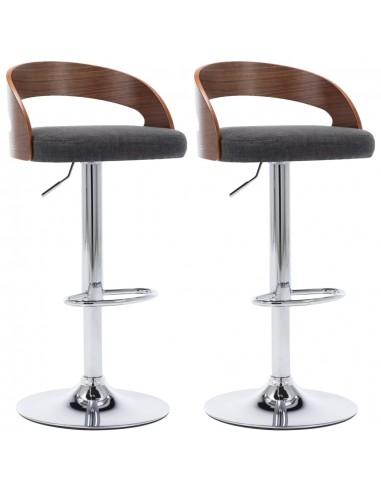 Baro kėdės, 2vnt., tamsiai pilkos, audinys ir lenkta mediena | Stalai ir Baro Kėdės | duodu.lt