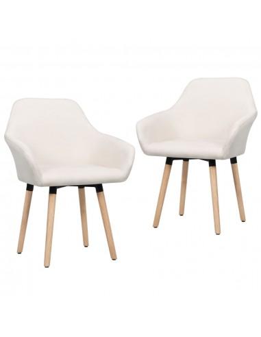 Valgomojo kėdės, 2 vnt., kreminės spalvos, audinys   Virtuvės ir Valgomojo Kėdės   duodu.lt