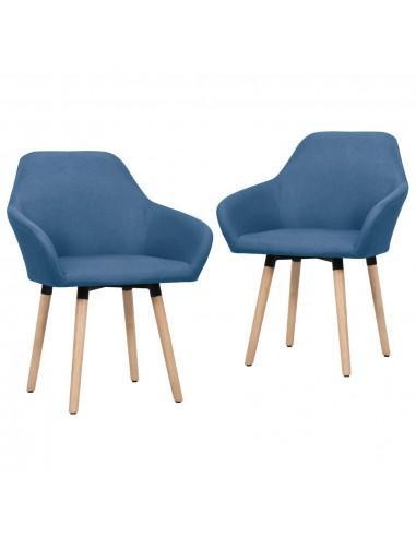Valgomojo kėdės, 2 vnt., mėlynos spalvos, audinys    Virtuvės ir Valgomojo Kėdės   duodu.lt
