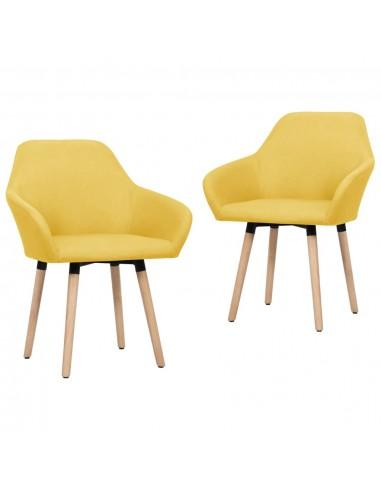 Valgomojo kėdės, 2 vnt., geltonos spalvos, audinys | Virtuvės ir Valgomojo Kėdės | duodu.lt