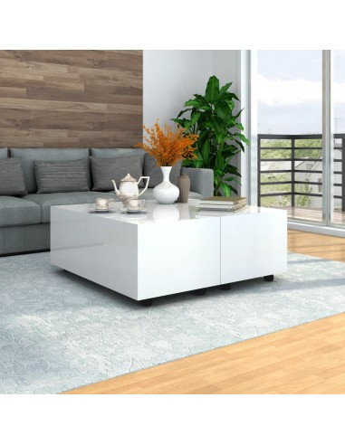 Kavos staliukas, baltos spalvos, 100x100x35 cm, labai blizgus | Kavos Staliukai | duodu.lt