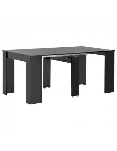 Išskleidž. valgomojo stalas, juodos sp., 175x90x75cm, l. blizg. | Virtuvės ir Valgomojo Stalai | duodu.lt
