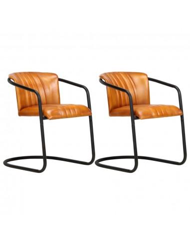 Valgomojo kėdės, 2vnt., gelsvai rudos spalvos, tikra oda  | Virtuvės ir Valgomojo Kėdės | duodu.lt