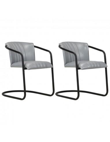 Valgomojo kėdės, 2vnt., pilkos spalvos, tikra oda | Virtuvės ir Valgomojo Kėdės | duodu.lt