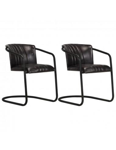 Valgomojo kėdės, 2vnt, juodos spalvos, tikra oda    Virtuvės ir Valgomojo Kėdės   duodu.lt