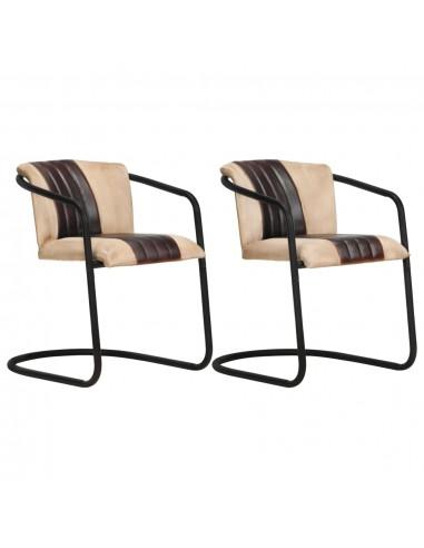 Valgomojo kėdės, 2vnt., rudos spalvos, tikra oda | Virtuvės ir Valgomojo Kėdės | duodu.lt