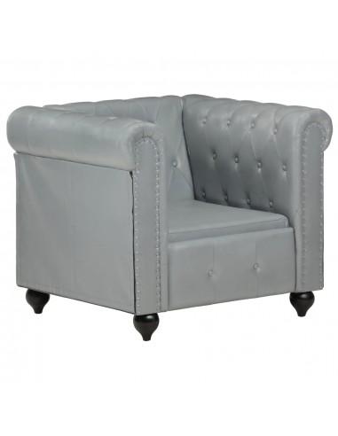 Chesterfield krėslas, pilkos spalvos, tikra oda    Foteliai, reglaineriai ir išlankstomi krėslai   duodu.lt
