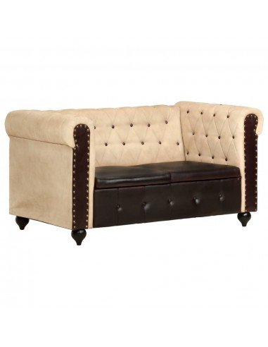 Dvivietė chesterfield sofa, rudos spalvos, tikra oda    Sofos   duodu.lt