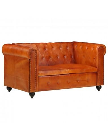 Dvivietė chesterfield sofa, gelsvai rudos spalvos, tikra oda    Sofos   duodu.lt