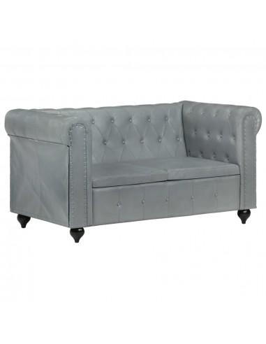 Dvivietė chesterfield sofa, pilkos spalvos, tikra oda  | Sofos | duodu.lt