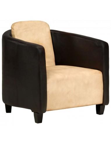 Krėslas, gelsvai rudos ir juodos spalvos, tikra oda  | Foteliai, reglaineriai ir išlankstomi krėslai | duodu.lt