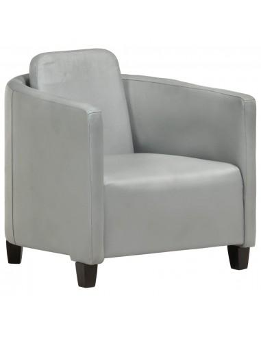 Krėslas, pilkos spalvos, tikra oda | Foteliai, reglaineriai ir išlankstomi krėslai | duodu.lt