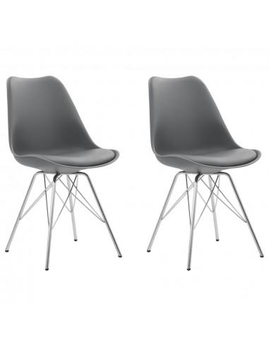 Valgomojo kėdės, 2 vnt., pilkos spalvos, dirbtinė oda   Virtuvės ir Valgomojo Kėdės   duodu.lt