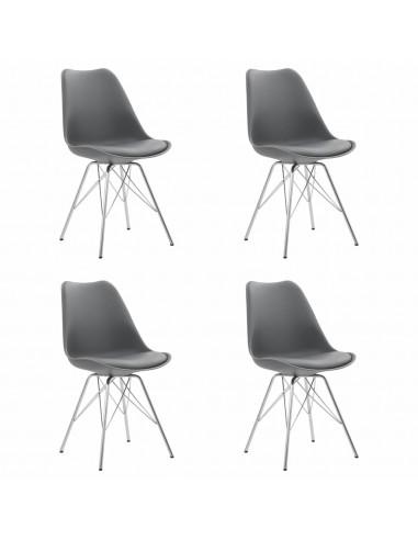 Valgomojo kėdės, 4 vnt., pilkos spalvos, dirbtinė oda   Virtuvės ir Valgomojo Kėdės   duodu.lt