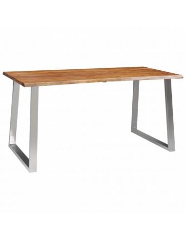 Valgomojo stalas, 160x80x75cm, akac. med. mas. ir nerūd. plien.  | Virtuvės ir Valgomojo Stalai | duodu.lt