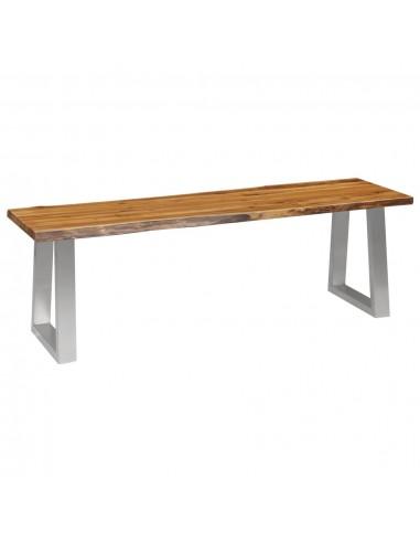 Suoliukas, 140 cm, akacijos medienos masyvas ir nerūd. plienas | Sandėlio ir Prieangio Suolai | duodu.lt