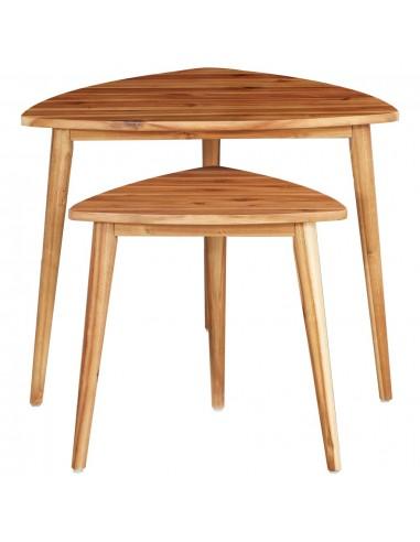 Sudedami staliukai, 2 vnt., akacijos medienos masyvas    Kavos Staliukai   duodu.lt