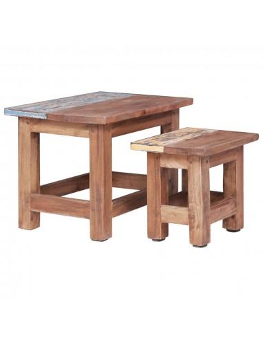 Sudedami staliukai, 2vnt., perdirbtos medienos masyvas  | Žurnaliniai Staliukai | duodu.lt