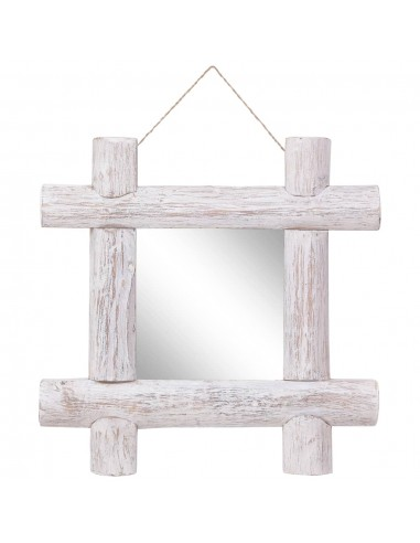 Veidrodis iš rąstų, baltos spalvos, 50x50cm, medienos masyvas | Veidrodžiai | duodu.lt