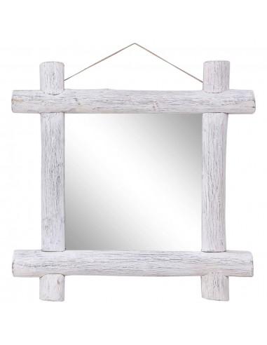 Veidrodis iš rąstų, baltos spalvos, 70x70cm, medienos masyvas | Veidrodžiai | duodu.lt