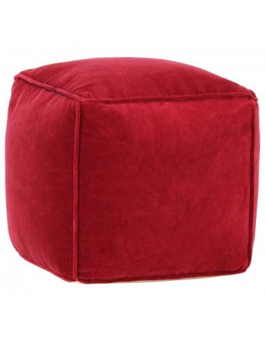 Pufas, rubino raudonos spalvos, 40x40x40cm, medvilnės aksomas   Pufai   duodu.lt