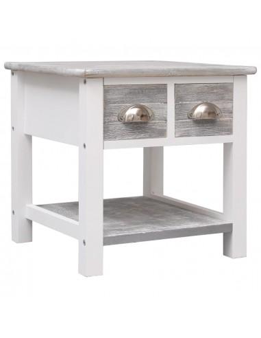 Šoninis staliukas, pilkos sp., 40x40x40cm, paulovnijos mediena | Žurnaliniai Staliukai | duodu.lt