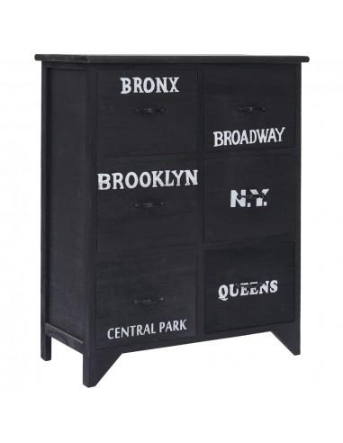 Šoninė spintelė su 6 stalčiais, juoda, 60x30x75cm, paulov. med.   Bufetai ir spintelės   duodu.lt