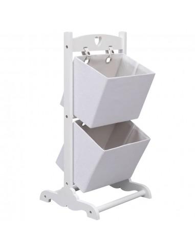 Stovas krepšeliams, baltas, 35x35x72cm, mediena, 2 aukštų   Spintos ir biuro spintelės   duodu.lt