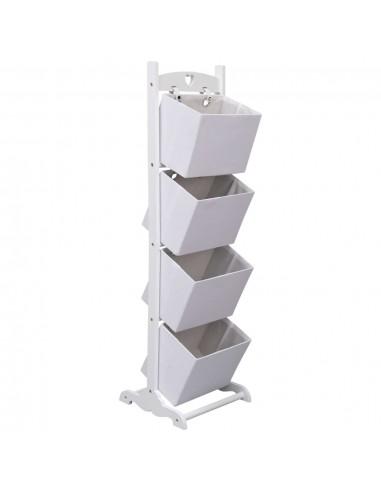 Stovas su krepšeliais, baltas, 35x35x125cm, mediena, 4 aukštų | Spintos ir biuro spintelės | duodu.lt