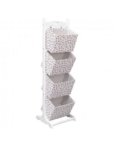 Stovas krepšeliams, 35x35x125cm, mediena, 4 aukštų, su gėlėmis   Spintos ir biuro spintelės   duodu.lt