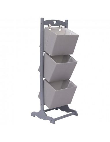 Stovas su krepšeliais, pilkas, 35x35x102cm, mediena, 3 aukštų | Spintos ir biuro spintelės | duodu.lt