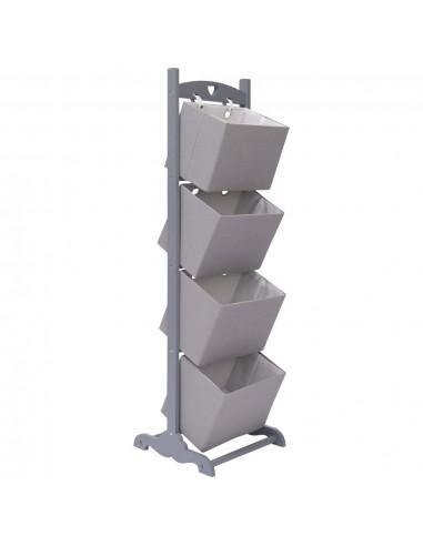 Stovas su krepšeliais, pilkas, 35x35x125cm, mediena, 4 aukštų | Spintos ir biuro spintelės | duodu.lt