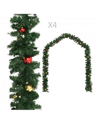 Kalėdinės girliandos su žaisl., 4 vnt. žalios sp., 270 cm, PVC | Šventiniai papuošimai | duodu.lt