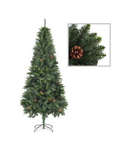 Dirbtinė kalėdinė eglutė su kankorėžiais, žalios sp., 210cm  | Šventiniai papuošimai | duodu.lt
