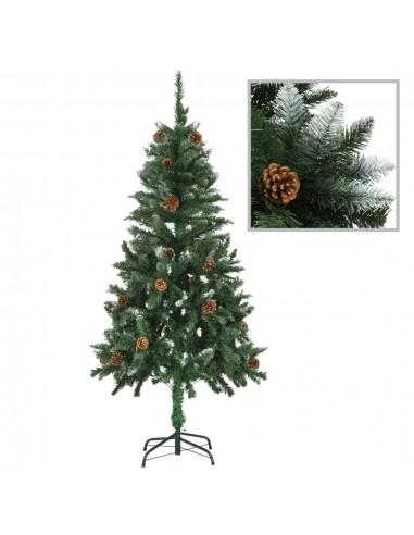 Dirbtinė kalėdinė eglutė su kankorėžiais ir baltu blizg., 150cm  | Šventiniai papuošimai | duodu.lt