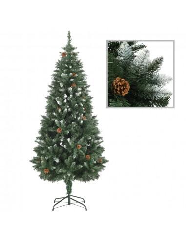 Dirbtinė kalėdinė eglutė su kankorėžiais ir baltu blizg., 180cm    Šventiniai papuošimai   duodu.lt