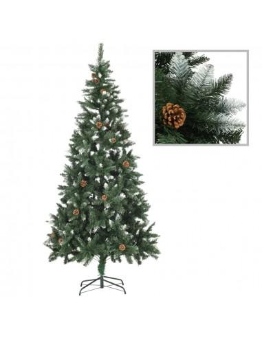 Dirbtinė kalėdinė eglutė su kankorėžiais ir baltu blizg., 210cm    Šventiniai papuošimai   duodu.lt