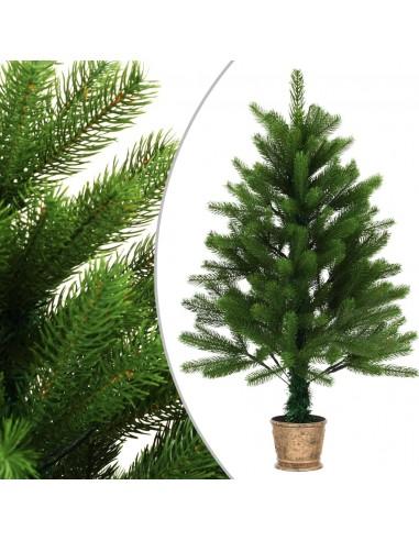 Dirbtinė Kalėdų eglutė, žalia, 90cm, tikrų spyglių imitacija | Šventiniai papuošimai | duodu.lt