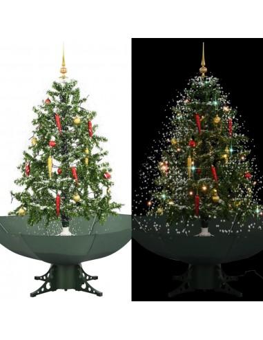 Kalėdų eglutė su sniego fun. ir skėč. form. pagr., žalia, 140cm   Šventiniai papuošimai   duodu.lt