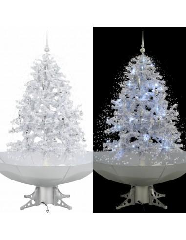 Kalėdų eglutė su sniego fun. ir skėč. form. pagr., balta, 140cm | Šventiniai papuošimai | duodu.lt