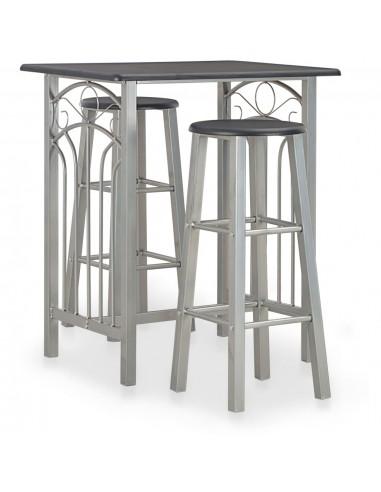 Baro baldų komplektas, 3 d., juodos spalvos, mediena ir plienas | Virtuvės ir Valgomojo Baldų Komplektai | duodu.lt