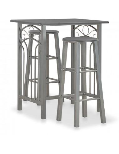 Baro baldų komplektas, 3 d., antracito sp., mediena ir plienas | Virtuvės ir Valgomojo Baldų Komplektai | duodu.lt