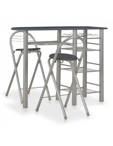 Baro baldų kompl. su lent., 3 d., juodos sp., med. ir plienas   Virtuvės ir Valgomojo Baldų Komplektai   duodu.lt