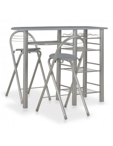 Baro baldų kompl. su lent., 3 d., pilkos sp., med. ir plienas | Virtuvės ir Valgomojo Baldų Komplektai | duodu.lt