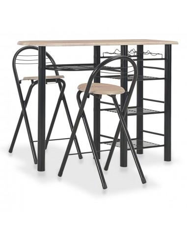 Baro baldų komplektas su lentynomis, 3 d., mediena ir plienas   Virtuvės ir Valgomojo Baldų Komplektai   duodu.lt