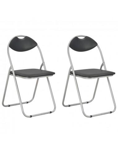 Sulankstomos valgomojo kėdės, 2vnt., juodos sp., dirbtinė oda   Virtuvės ir Valgomojo Kėdės   duodu.lt