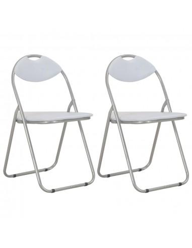 Sulankstomos valgomojo kėdės, 2vnt., baltos sp., dirbtinė oda   Virtuvės ir Valgomojo Kėdės   duodu.lt