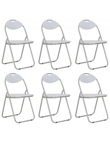 Sulankstomos valgomojo kėdės, 6vnt., baltos sp., dirbtinė oda | Virtuvės ir Valgomojo Kėdės | duodu.lt